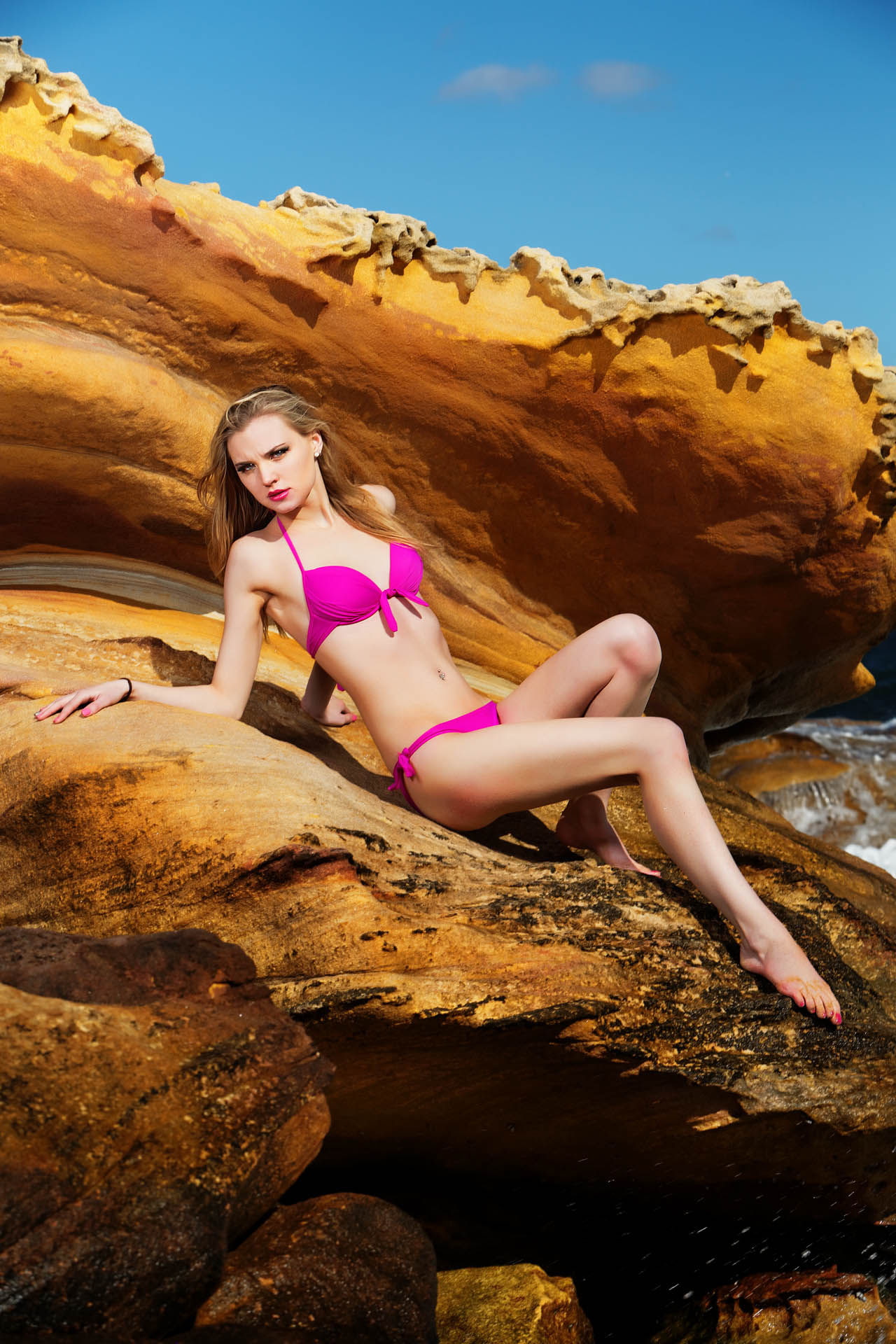 Swimwear Location Shoot with Katie Maconaghie. Hair and makeup by Mariam Fleur Baraka.    Photography by Chris David @chrisdavidphoto